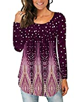 Purple Long Sleeve T Shirt Stylish Shirts for Young Women O Neck Flare Top Fall Clothing XL