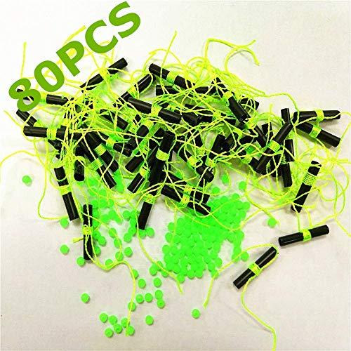 YOTO 80pcs Fishing Bobber Float Stops with Glow Beads (80pcs Green Black)