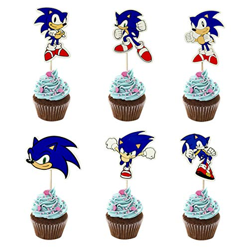 48PCS Sonic Cupcake Toppers for Kids Birthday Party Cake Decoration
