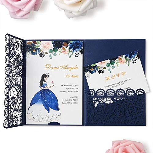 FEIYI 20pcs 3 Folds Laser Cut Lace Flower Pattern Invitations Cards For Birthday Baby Shower Wedding Rehearsal Dinner Invites Birthday Invites(Navy Blue)