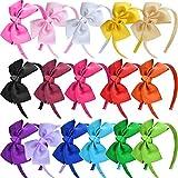 SIQUK 16 Pieces Bow Headband Grosgrain Ribbon Headbands with Bows Headband for Girls, 16 Colors(Bonus: 1 Pc Storage Bag)