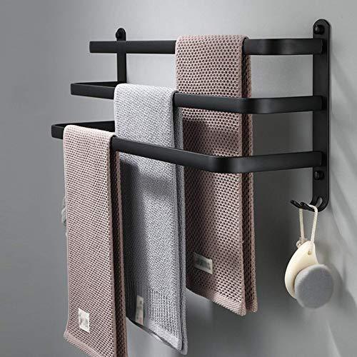 Railo de toallas Sin toalla de perforación Barras de toallas 30/40/50/60/70 / 80cm Tapas para baños para baños Montado en la pared Toalla de toalla de tres capas con gancho Soporte de toalla de mano d