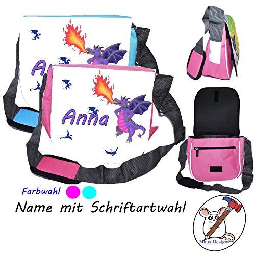 lila Drachen Kindergartentasche mit Name/Schriftartwahl/Kindertasche/Kindergarten/Kindergerechte Tasche/Tasche mit Name/Personalisierte Tasche/lila Drache