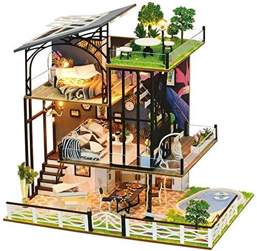 Kit Fai da Te per casa delle Bambole, Montaggio Manuale, in Legno 3D, Modello casetta a Tre Piani Colorato