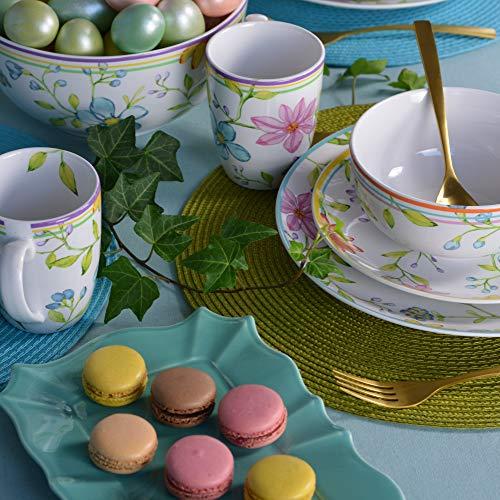 Euro Ceramica Charlotte Collection Stoneware, 16 Piece Dinnerware Set, Service for 4, Watercolor Floral Design in Multicolor White Pink