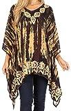 Sakkas 1802 - Alizia Lightweight Embroidery Batik Top Tunic Blusa Caftan Cover up Poncho - Negro/Crema - OS