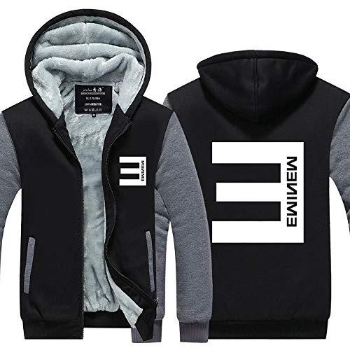 XING GUANG Unisex Sudaderas con Capucha Eminem Suéter Hip Hop Sweatshirt Además Terciopelo Chaquetas Cremallera Caliente Top E-Large