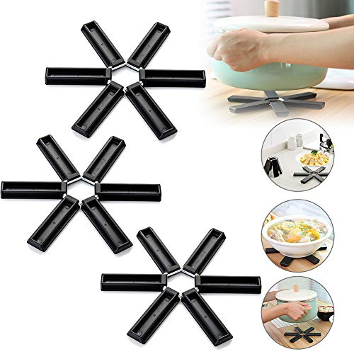 Folding Silicone Heat Insulation Pad,Non-Slip Heat-Insulating Placemat,Design Foldable Trivet Mats Hot Pot Holders Suitable for Household Kitchen Gadgets 3PACK-Black