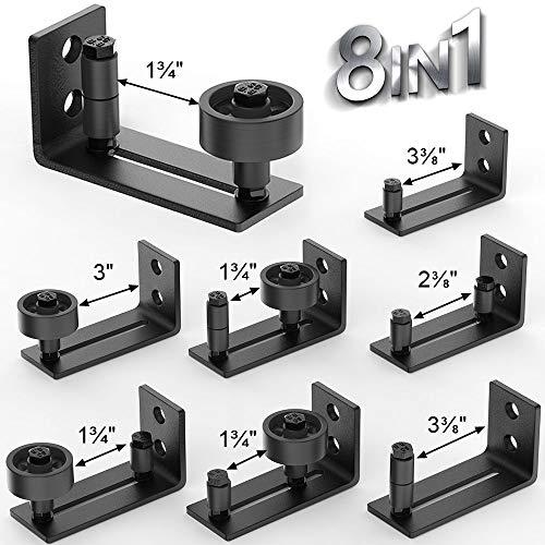 YEFU 8 in 1 Sliding Barn Door Floor Guides, Barn Door Guide for Bottom Adjustable Roller and Wall Mount System