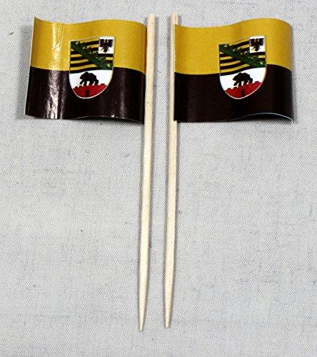 Buddel-Bini Party-Picker Flagge Sachsen Anhalt Papierfähnchen in Profiqualität 50 Stück 8 cm Offsetdruck Riesenauswahl aus eigener Herstellung