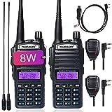 TIDRADIO UV-82 8W Ham Radio High Power Dual Band Radio UHF VHF Two Way Radio with Driver Free Programming Cable and Long Antenna 2Pack
