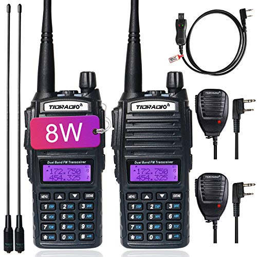 TIDRADIO UV-82 Ham Radio Handheld High Power Radio Two Way Radio with Driver Free Programming Cable and Long Antenna 2Pack