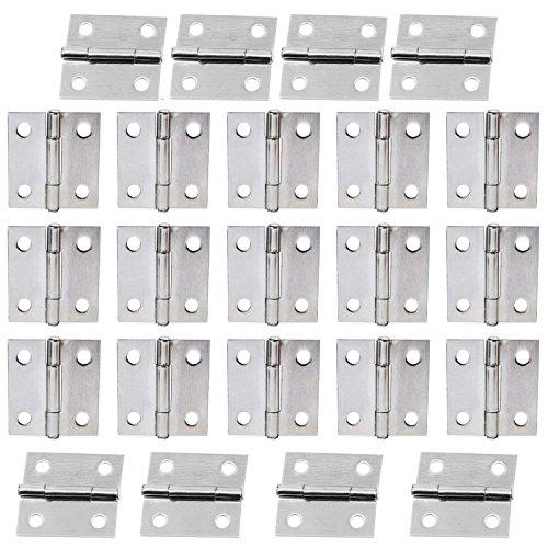 WiMas - 50 bisagras plegables de acero inoxidable para muebles de casa con 200 tornillos