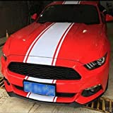 Boilipoint 3Pcs 17' Width Sticker Decal Stripes Racing Stripes Vinyl Sticker Car Hood, Truck, Trunk Decals Free Size Fit for All Cars SUV (Matte White)