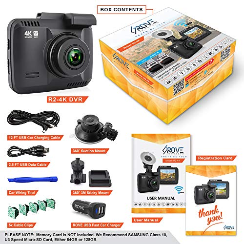 "Rove R2-4K Dash Cam Built in WiFi GPS Car Dashboard Camera Recorder with UHD 2160P, 2.4"" LCD, 150° Wide Angle, WDR, Night Vision"