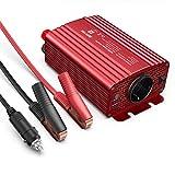 BESTEK Convertisseur Transformateur 12v 220v 240v 500W Onduleur de Tension,2 USB Ports 5V/4.8A et 2 Prises EU,Une Paire de Clips Batterie avec 2 Fusibles pour Chargeur Voiture Bateau Camper-Rouge