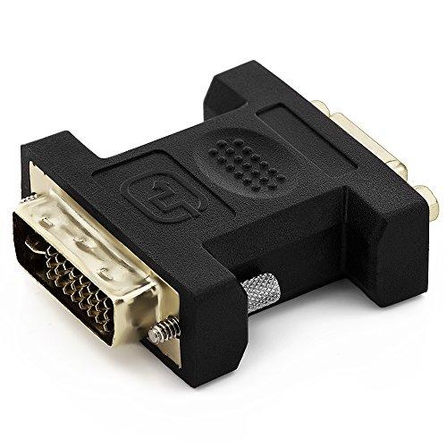 deleyCON VGA vers DVI-I Adaptateur - Prise VGA au Connecteur DVI-I pour Le Moniteur PC Projecteur Carte Vidéo - Noir