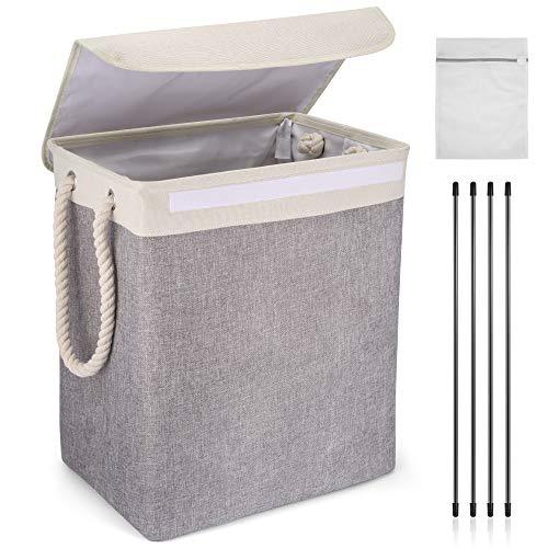 Cestas de lavandería plegables con tapas para el cuarto de baño, cestas de lavado para la colada gris, cubo de ropa de lino con asas de cuerda