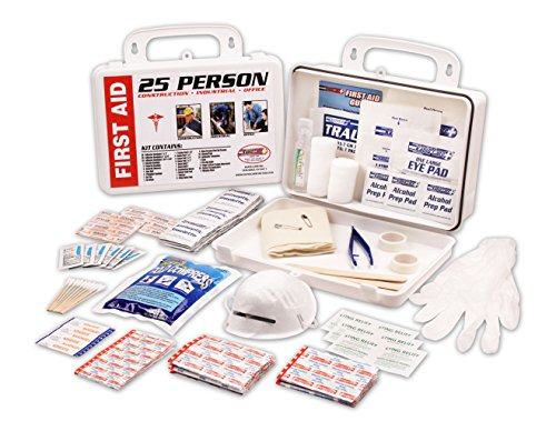 Rapid Care First Aid 081172C 25 Person 172 Piece ANSI/OSHA Compliant Emergency First Aid Kit In Wall Mountable Poly Case, Pack of 12