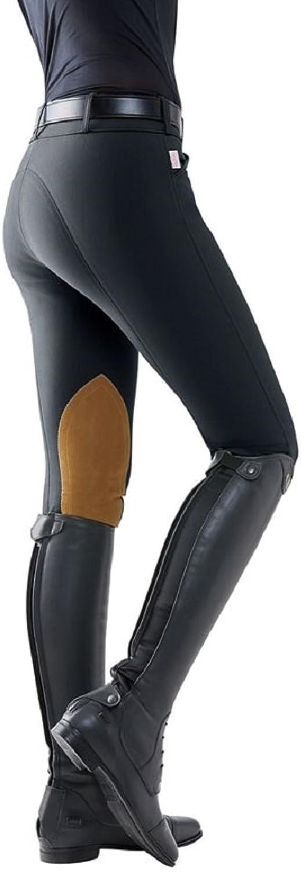 Tailored Sportsman Ladies Trophy Hunter Low Rise Front Zip Breech Black Tan Patch 26R