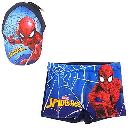 Spíderman Badehose Typ Boxershorts für Strand oder Pool + Marvel Baumwollkappe für Kinder, Blau 8-9 Jahre