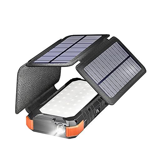 BEILA Cargador Solar 26800mAh,[Cable de Datos/Solar,Carga 2 en 1] Batería Externa Solar de Carga Rápida con 2 Puertos USB Power Bank Portátil con Estilo para Smartphones, Tabletas,Naranja
