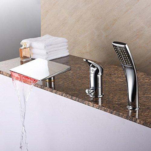 NIHE Mode LED contrôle lumière robinet de baignoire en cuivre de haute qualité douche complète gigogne robinet cascade salle de bains