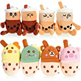 8 Pieces 5 Inch Boba Plush Toy Bubble Tea Plush Pillows Teacup Shaped Pillow with Suction Cups Cartoon Bubble Tea Plush Toy Milk Tea Plush Toy for Teens, Adults, Boba Lover, 8 Styles