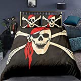HSBZLH Funda de edredón Pirata con Bandera de Tierra del Fuego, Argentina, en Grunge, Antiguo, histórico, con decoración de Calavera, Juego de 3 Piezas de Ropa de Cama