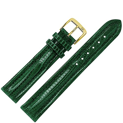 MARBURGER Uhrenarmband 20mm Leder Grün Eidechse (Teju) - Werkzeug Montage Set 8262061000220