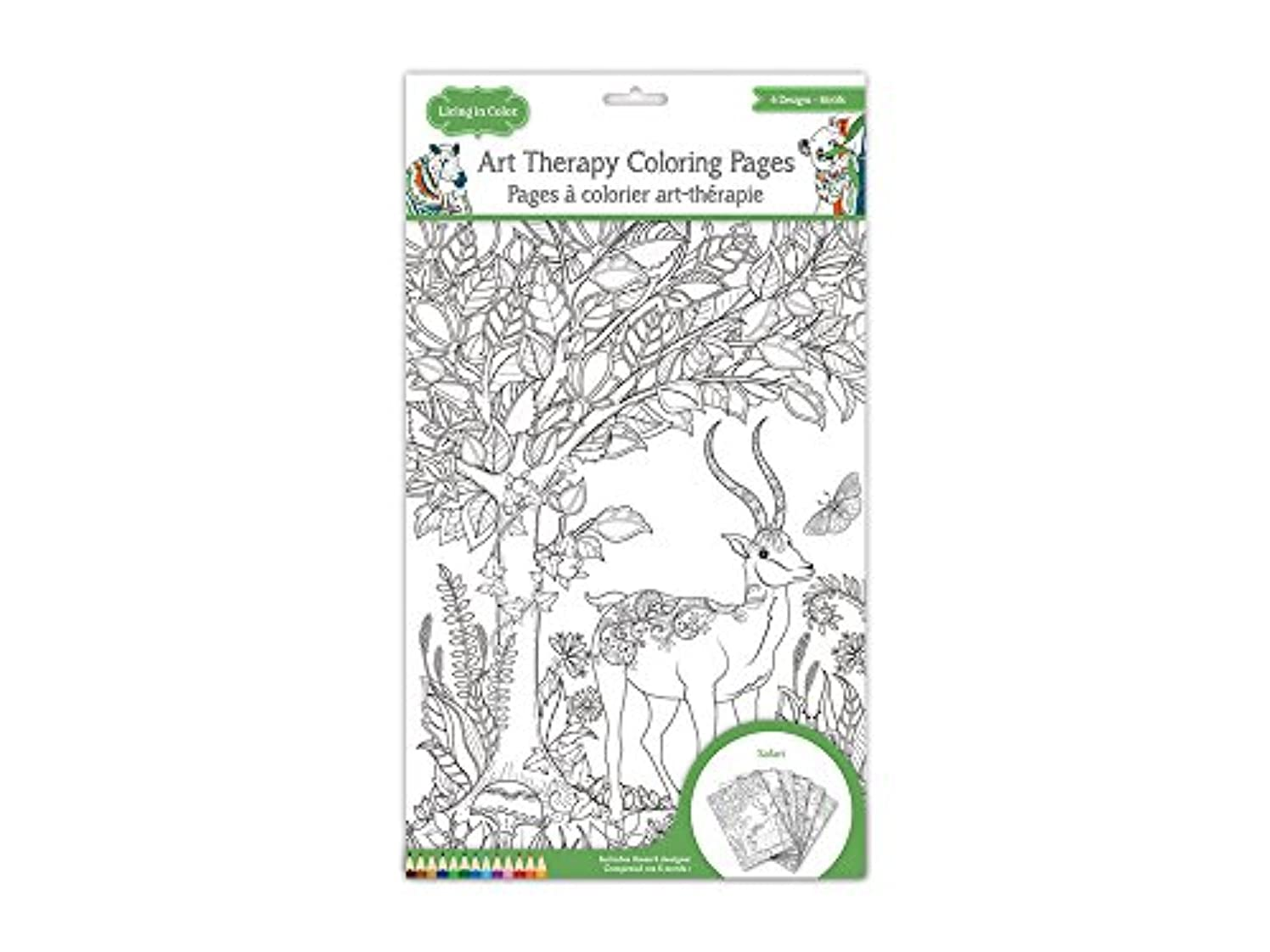 Living In Color Art Therapy Coloring Pages 11.8in x 8.2in, 6 Designs, Single pages to easily frame your masterpiece, Safari