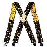 Melo Tough Men suspenders | Tool belt suspenders Tape Measure Print Tradesperson's Suspenders
