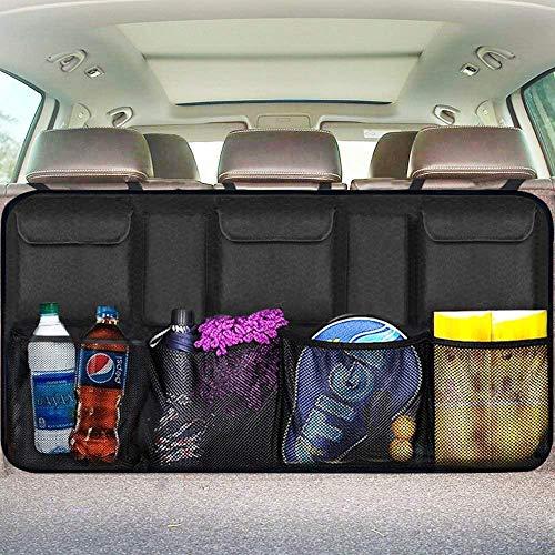 EldHus Rear Car Organizer Storage Trunk Back Seat Organizer Car Backseat Organizer Storage with Pockets, Cloth, Black