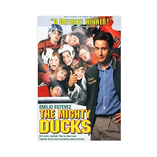 Póster de los 90s Los patos poderosos Póster de la película fresca Póster de lona para decoración de dormitorio, paisaje, oficina, habitación, decoración, regalo de 40 x 60 cm