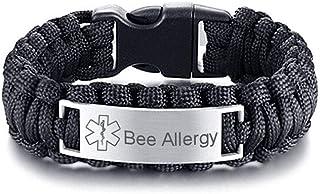 Sunling Free Custom Engraving Medical Alert ID Paracord Bracelets Allergy Awareness Bracelet Bangle for Men Outdoors Activities Emergency Life Saver,9 Inches