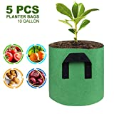 GOOHEAL Bolsas de Cultivo, 5Pcs 10Gallon Plant Flower Vegetable Aeration Planting Pot Container Gardening Plant, Pouch with Handle