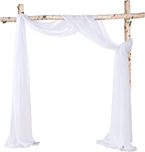 HOMEIDEAS Sheer Window Scarfs 30 x 216 Inches Long Sheer Valance Scarf Wedding Arch Drapes Scarf Curtains Voile Sheer Scarf Valance Window Treatment Swags Drapes For Living Room,White & White,Set Of 2