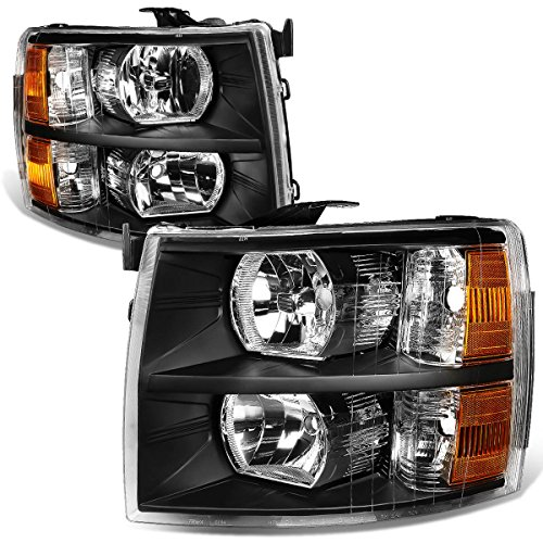 For 07-14 Chevy Silverado Pair Black Housing Amber Corner Headlight/Lamps
