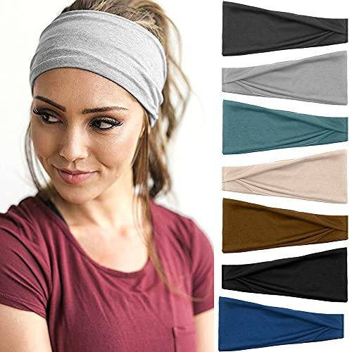 7 Stück Haarband Damen Gestrickt Stirnband Elastisch Niedlich Haarschmuck Sport Yoga Haarbänder Verstellbare Breit Haarreife Workout Headbandsfür Mädchen Damen