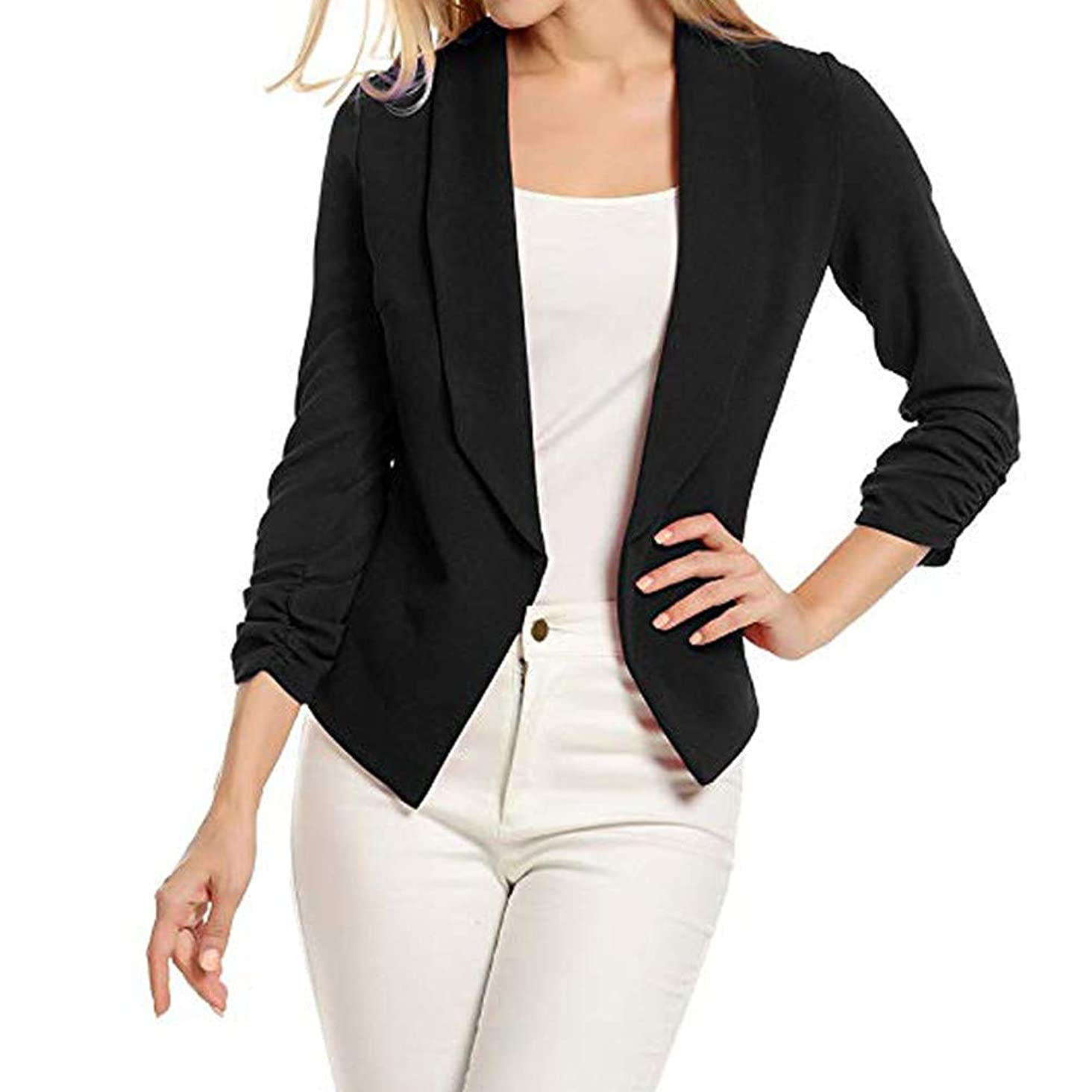Kulywon Women 3/4 Sleeve Blazer Open Front Short Cardigan Suit Jacket Work Office Coat