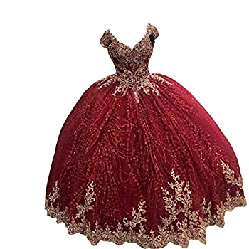 Glittery Tulle Floral Applique Quinceanera Dresses Cap Short Sleeve Prom Sweet 16 Dresses Corset Back Burgundy 2