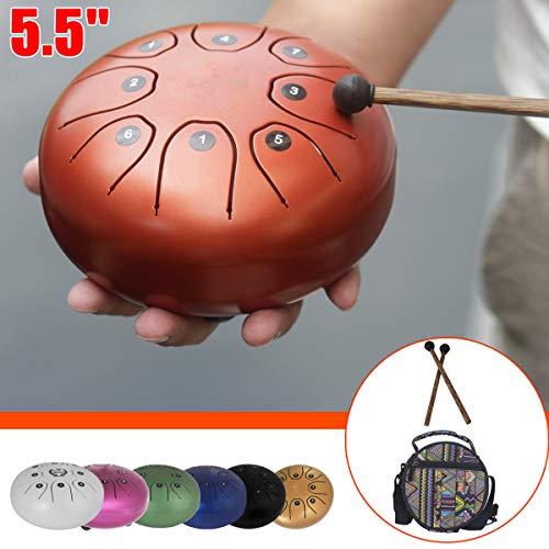 Essort 5.5'Tambor de Lengua (Acero, Instrumento de música a la Escala 8, Incluido un Tambor de Lengua (Acero, un Bolsa de Almacenamiento de Tambor y una par de Pilons