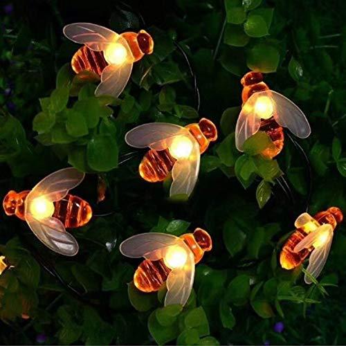 SHKUU Luces solares para jardín al Aire Libre, Abeja 5M / 10M Lámpara energía Solar Cadena LED Luces Hadas Guirnaldas solares Jardín Boda Decoración navideña para Exteriores