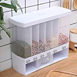HOMEICE Dry Food Dispenser 6-Grid Cereal Dispensers Food Storage Container Kitchen Storage Tank for Cereal || Rice, Nuts, Candy, Coffee Bean, Snack, Grain.