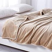 毛布 あったか 厚手 フランネル 掛け毛布 マイクロファイバー ブランケット 洗える (シングル・140X200cm, ベージュ)