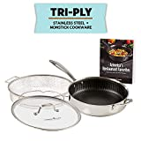 Copper Chef Titan Pan, Try Ply Stainless Steel Non-Stick Frying Pan, 11-Inch, Stainless