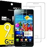 NEW'C 2 Unidades, Protector de Pantalla para Samsung Galaxy S2 (i9100), Antiarañazos, Antihuellas, Sin Burbujas, Dureza 9H, 0.33 mm Ultra Transparente, Vidrio Templado Ultra Resistente