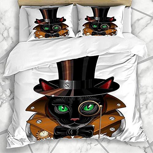Dekbedovertrekset voor beddengoed, mantel, Steampunk-jas, vintage, symbolische ogen, zwart, top elegant, trenchcoat texturen, 3-delige set met overtrek van Almoh