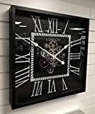 Sassy Home Black & Silver - Reloj de Pared con Mecanismo de Engranaje mecánico Cuadrado (56 x 9 x 56 cm)