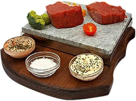 Set Completo con Piedra volcánica de 20x20 para Asar Carne a la Piedra